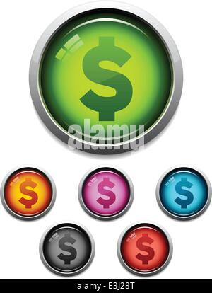 Glossy money button icon set in 6 colors - Stock Photo