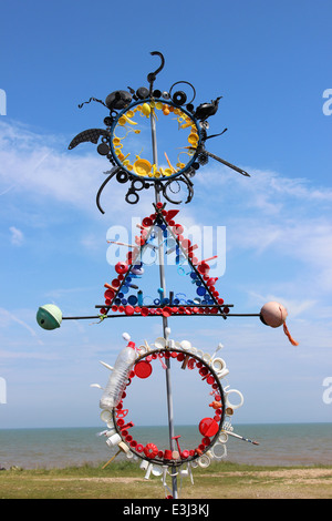 Beach Sculpture Made From Pieces Of Plastic Washed Up On The Beach At Minsmere, UK - Stock Photo