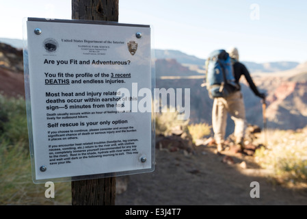 Notice warning hikers of heat and injury related deaths on the Lava Falls route in Grand Canyon National Park, Arizona. - Stock Photo