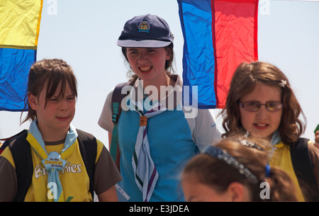 Girl Guide and Brownies boarding ferry to go across to Brownsea Island in Poole Harbour, Dorset in June - Stock Photo