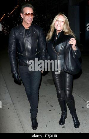 Lloyd Klein and Jocelyn Wildenstein leaving Boa Steakhouse together in West Hollywood  Featuring: Lloyd Klein,Jocelyn - Stock Photo