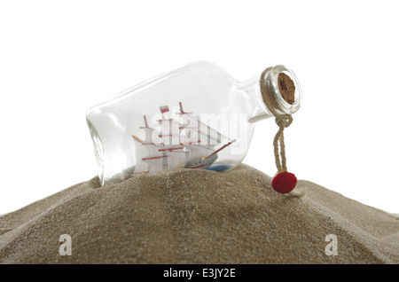sailcloth ship in closed with cork bottle - Stock Photo