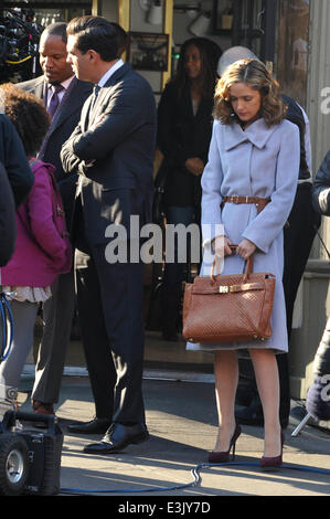 Scenes from the set of Annie  Featuring: Jamie Foxx,Rose Byrne,Quvenzhané Wallis Where: Manhattan, New York, United - Stock Photo