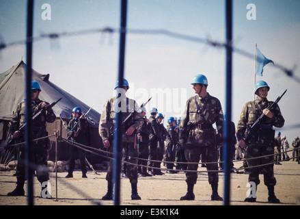 onu soldier,lebanon refugee camp,70's - Stock Photo