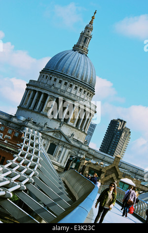 View across Millennium Bridge towards grade 1 listed St Paul's Cathedral London England Europe - Stock Photo
