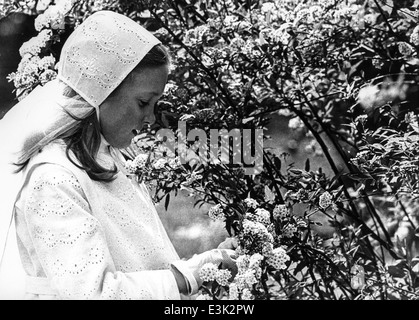 girl in her first holy communion day,60's - Stock Photo