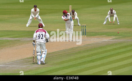 Emirates Old Trafford  Manchester, UK  24th June 2014  Andrew Hall plays to leg, as Northants fails in their attempt - Stock Photo