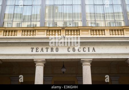 Detail of the facade of the Teatro Coccia theatre, Novara, Piedmont, Italy - Stock Photo
