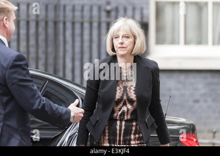 June 24, 2014 - London, UK - THERESA MAY, Secretary of State for the Home Department, arrives at 10 Downing Street - Stock Photo