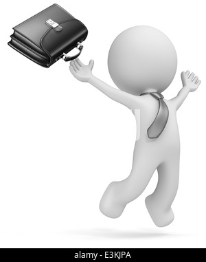 Dude the business man jumping of joy. Black Briefcase and tie. Isolated. - Stock Photo