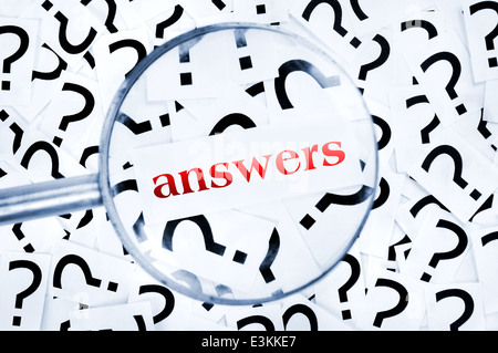 Answers word found in many question marks - Stock Photo