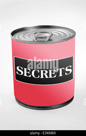Secrets word on can label - Stock Photo