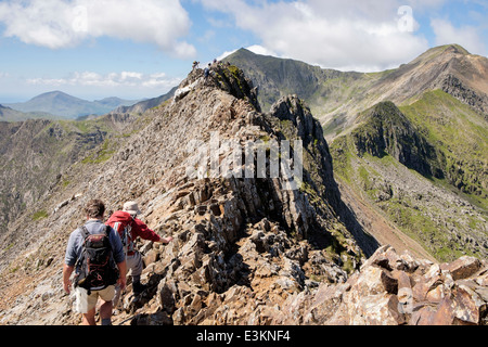 Hikers scrambling on Crib Goch ridge scramble at start of Snowdon Horseshoe with Mount Snowdon in distance. Snowdonia - Stock Photo