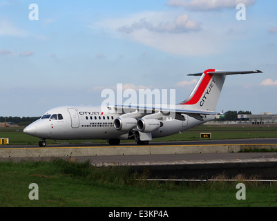 EI-RJW British Aerospace Avro RJ85 Cityjet taxiing at Schiphol (AMS - EHAM), The Netherlands, 18may2014, pic-1 - Stock Photo