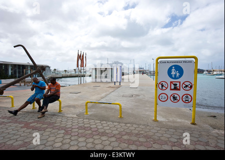 The refurbished pier of Porto Grande bay in Mindelo, the only town on Sao Vicente Island, Cape Verde. - Stock Photo