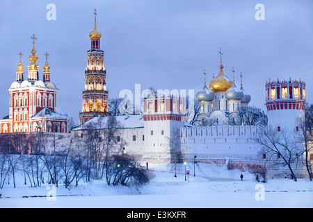 Winter view of Novodevichy Convent in Moscow , Russia - Stock Photo