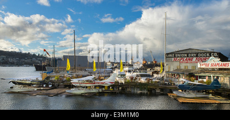 Seattle, Washington: Seaplanes moored on Lake Union along Eastlake - Stock Photo