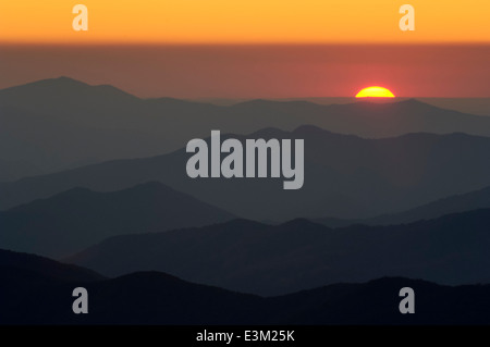 Sunset in the Great Smoky Mountains, TN, USA - Stock Photo