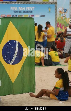 Rio de Janeiro, Brazil. 23rd June, 2014. 2014 FIFA World Cup Brazil. Brazilian fans at FIFA Fan Fest in Copacabana - Stock Photo