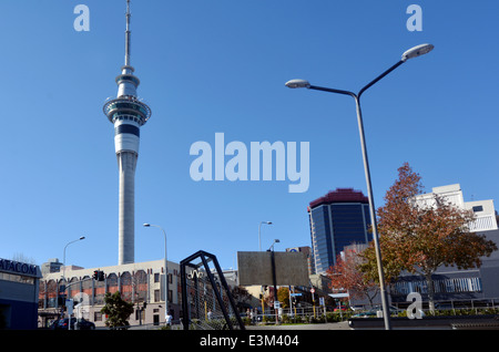Auckland Sky Tower in Auckland New Zealand - Stock Photo