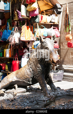 Il Porcellino a large bronze statue of a wild boar, on the south side of Mercato Nuovo - Stock Photo