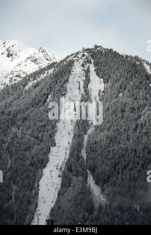 Cable car of the Aiguille du Midi in Chamonix, France - Stock Photo