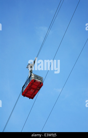 Underneath view of the Aiguille du Midi's cable car in Chamonix, France - Stock Photo