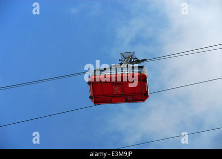 Underneath view of a cabin of the Aiguille du Midi's cable car in Chamonix, France - Stock Photo