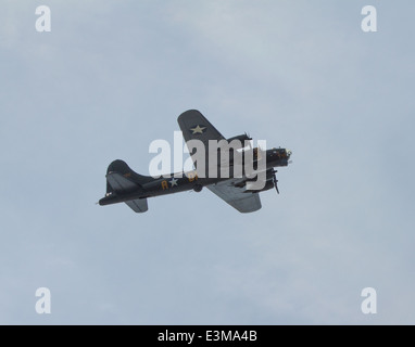 Flying Fortress bomber Sally B B17 military aircraft used by United States Army Air Forces in World War II Boeing - Stock Photo