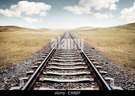 Railway Tracks. A long journey ahead. - Stock Photo