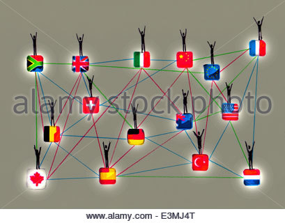 People waving on network of connected international flags - Stock Photo