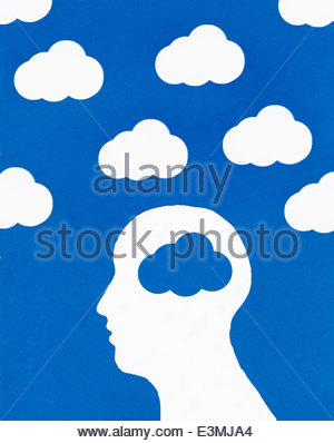 Cloud pattern and man's head with blue cloud brain - Stock Photo