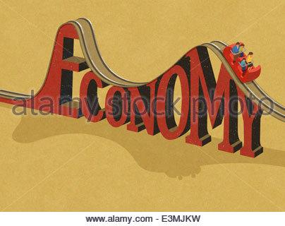 Family riding 'Economy' roller coaster - Stock Photo
