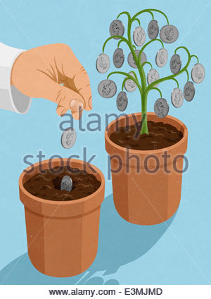 Hand planting Canadian dollar coins into plant pot next to money tree - Stock Photo