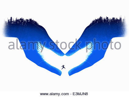 Caring helping hands forming white dove and man jumping the gap - Stock Photo