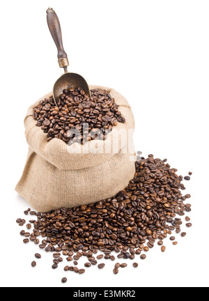 sack of coffee beans with retro scoop isolated on white background - Stock Photo
