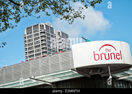 A view of the David Murry John building and Brunel shopping Center logo, Swindon, Wiltshire, UK - Stock Photo