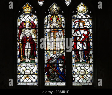 Stained Glass Window In St Margaret's the Grade I listed Medieval parish church of Cley-next-the-Sea, Norfolk, UK - Stock Photo