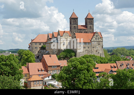 Castle and St. Servitii Church, world cultural heritage, Quedlinburg, Saxony Anhalt, Germany - Stock Photo