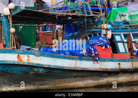 Fishing village in Sihanoukville Port, Sihanouk Province, Cambodia, Asia - Stock Photo