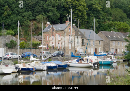 Idyllic scenery at the port of Dinan, a town in Brittany, France. It is located at the river Rance - Stock Photo