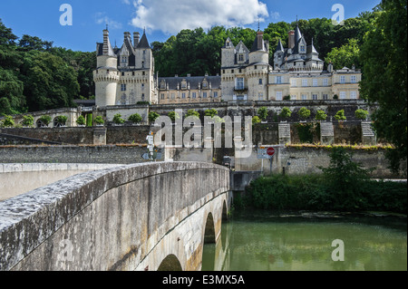 The Château d'Ussé, one of the Châteaux of the Loire Valley at Rigny-Ussé, Indre-et-Loire, France - Stock Photo