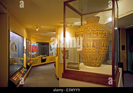 Native American basket at the PEABODY MUSEUM of ARCHAEOLOGY and ETHNOLOGY at HARVARD UNIVERSITY CAMBRIDGE, MASSACHUSETTS - Stock Photo