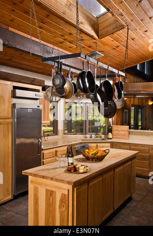 Interior of a HUNTING LODGE KITCHEN - CENTRAL, CALIFORNIA - Stock Photo