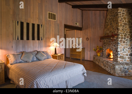 Interior of a HUNTING LODGE BEDROOM - CENTRAL, CALIFORNIA - Stock Photo