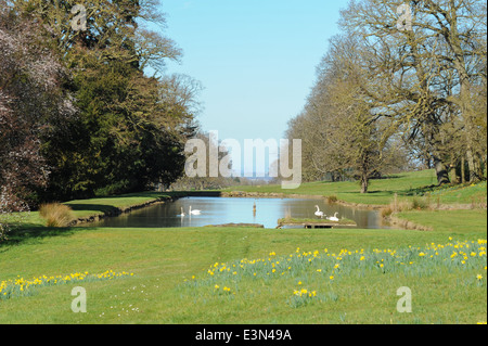 The Fountain and watergarden at Stanway, a traditional English Village in the heart of the Cotswolds, Gloucestershire, - Stock Photo