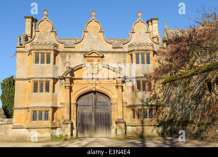 The entrance to the House in Stanway, a traditional English manor house in the heart of the Cotswolds, Gloucestershire, - Stock Photo