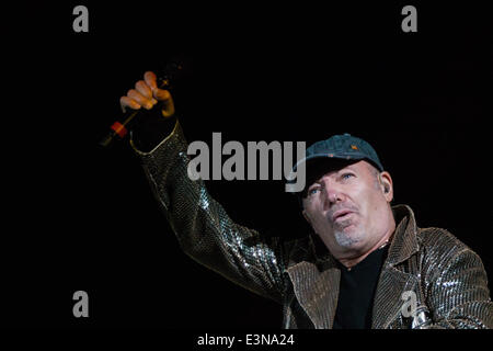 Rome, Italy. 25th June, 2014. Italian singer Vasco Rossi performs on stage during his concert at Rome's Olympic - Stock Photo