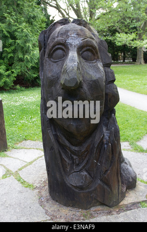 A wooden statue of the Swedish botanist, zoologist and physician Carl Linnaeus in Botaniska Tradgarden in Visby, - Stock Photo