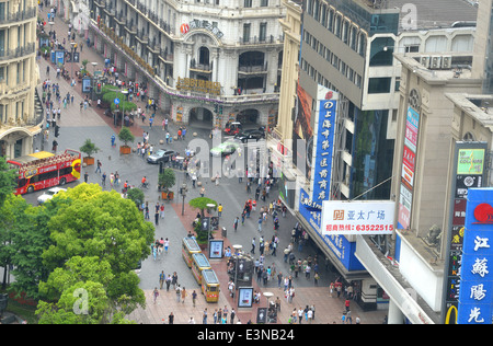 aerial view on Nanjing road Shanghai China - Stock Photo